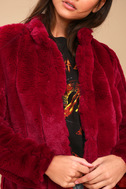 Marian Wine Red Faux Fur Jacket 5