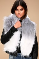 Shae White and Grey Faux Fur Scarf 1