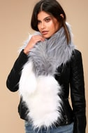 Shae White and Grey Faux Fur Scarf 2