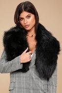 Maisie Black Faux Fur Scarf 1