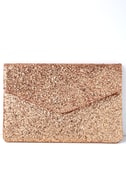 Pretty Little Thing Rose Gold Glitter Clutch 2