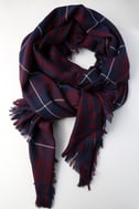 Let it Snow Navy Blue and Burgundy Plaid Scarf 1