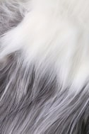 Shae White and Grey Faux Fur Scarf 3