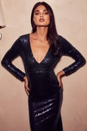 Capture the Moon Navy Blue Long Sleeve Sequin Maxi Dress 5