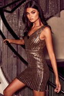 Marquee Lights Gold Sequin Backless Bodycon Dress 5