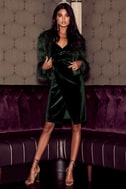 Honey Love Dark Green Velvet Bodycon Wrap Dress 5