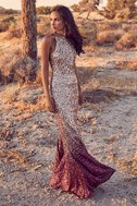 Infinite Dreams Burgundy and Rose Gold Ombre Sequin Maxi Dress 5