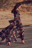 Petals on the Breeze Black Floral Print Maxi Dress 6