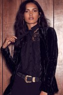 Lovely Lady Black Lace Long Sleeve Button-Up Top 5