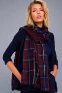 Let it Snow Navy Blue and Burgundy Plaid Scarf 2
