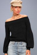 Good Going Black Knit Off-the-Shoulder Sweater 3