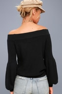 Good Going Black Knit Off-the-Shoulder Sweater 4