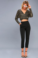 Shimmer Town Black and Gold Striped Long Sleeve Crop Top 3