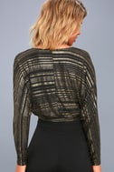 Shimmer Town Black and Gold Striped Long Sleeve Crop Top 4