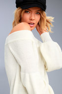Good Going Cream Knit Off-the-Shoulder Sweater 5