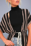 Tatiana Black Striped Kimono Top 4