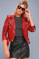 Moto Babe Black Vegan Leather Belted Mini Skirt 1