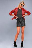 Moto Babe Black Vegan Leather Belted Mini Skirt 2