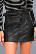 Moto Babe Black Vegan Leather Belted Mini Skirt 4