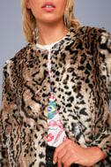 McKinley Brown Leopard Print Faux Fur Jacket 4