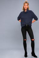 Park City Navy Blue Cowl Neck Knit Sweater 2