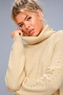 Park City Light Beige Cowl Neck Knit Sweater 4