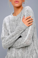 Irreplaceable Love Heather Grey Cable Knit Sweater 4