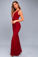 Everly Wine Red Lace Maxi Dress 3