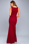 Everly Wine Red Lace Maxi Dress 4