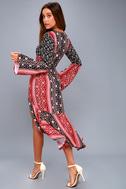 Burn in Love Black and Red Print Bell Sleeve Midi Dress 1