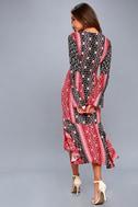Burn in Love Black and Red Print Bell Sleeve Midi Dress 3
