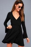 Plot Twist Black Flounce Sleeve Wrap Dress 1