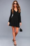 Plot Twist Black Flounce Sleeve Wrap Dress 2