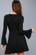 Plot Twist Black Flounce Sleeve Wrap Dress 3