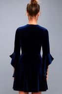 Wrapped in Luxe Navy Blue Velvet Bell Sleeve Skater Dress 3