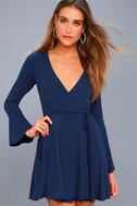Plot Twist Navy Blue Flounce Sleeve Wrap Dress 1