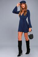 Plot Twist Navy Blue Flounce Sleeve Wrap Dress 2