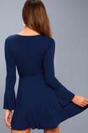 Plot Twist Navy Blue Flounce Sleeve Wrap Dress 3