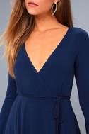 Plot Twist Navy Blue Flounce Sleeve Wrap Dress 4