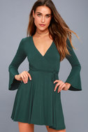 Plot Twist Forest Green Flounce Sleeve Wrap Dress 1