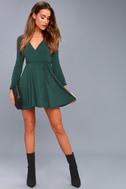 Plot Twist Forest Green Flounce Sleeve Wrap Dress 2