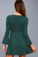 Plot Twist Forest Green Flounce Sleeve Wrap Dress 3