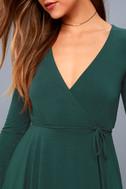 Plot Twist Forest Green Flounce Sleeve Wrap Dress 4