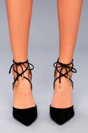 Luna Black Suede Lace-up Heels 2