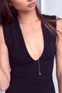 Joli Gold and Champagne Rhinestone Layered Drop Necklace 5