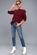 Irreplaceable Love Burgundy Cable Knit Sweater 2