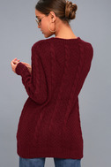 Irreplaceable Love Burgundy Cable Knit Sweater 3