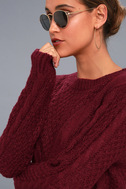 Irreplaceable Love Burgundy Cable Knit Sweater 4