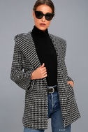 Ilora Black and White Hooded Jacket 1