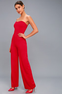 Edith Red Strapless Jumpsuit 1